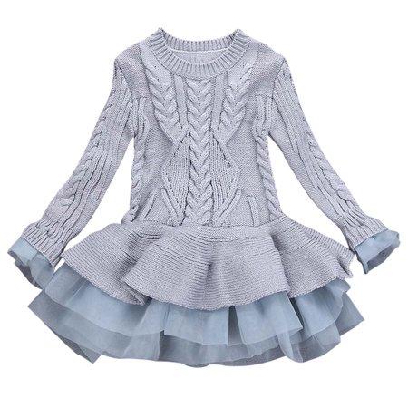 Kids Girls Knitted Sweater Winter Pullovers Crochet Tutu Dress Tops