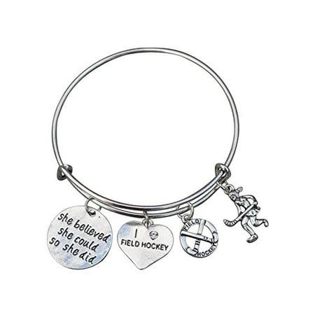 Field Hockey Bracelet Jewelry Gifts Charm Bangle