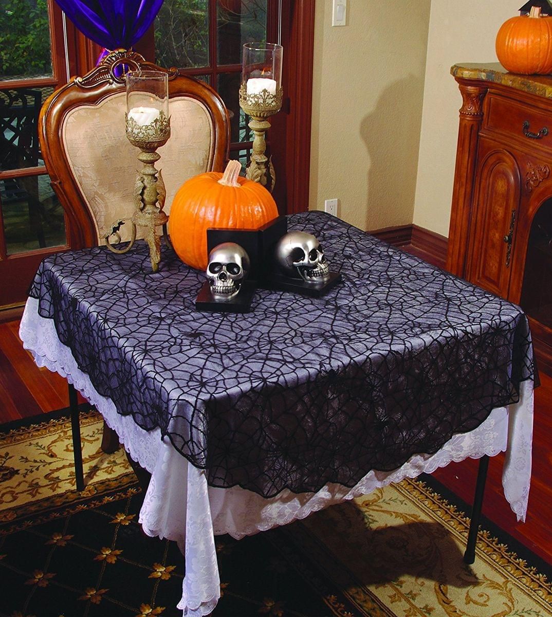"Underwraps 70"" x 96"" Lace Spider Web Round Table Cloth Halloween Decoration"