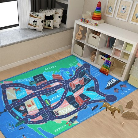 Kids Area Rugs Car Play Crawling Activity Mat Road Floor Game Carpets for Playroom Bedroom Classroom Educational Learning & Game 4' 11