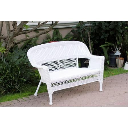 51 white resin wicker weather resistant all season outdoor patio garden love seat - Garden Furniture Love Seat