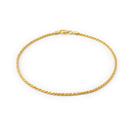 Simple Cable Rope Chain Anklet For Women For Teen Ankle Bracelet 14K Gold Plated 925 Sterling Silver 9-10 Made in Italy