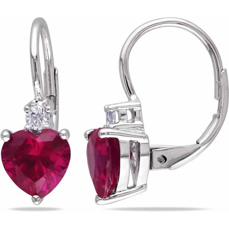 3-3/8 Carat T.G.W. Created Ruby and Created White Sapphire Sterling Silver Leverback Heart Earrings Created Ruby Leverback Earrings
