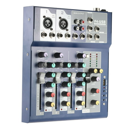 Professional Metal 4 Channel Live Mixer Mixing Console 3-Band EQ USB Function 48V Phantom with Bulit-in Effect Processor Mic Input - image 7 of 7