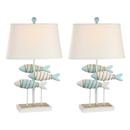 Madison Avenue Furniture International Seahaven Fish Coastal Table Lamp - Glacier Blue