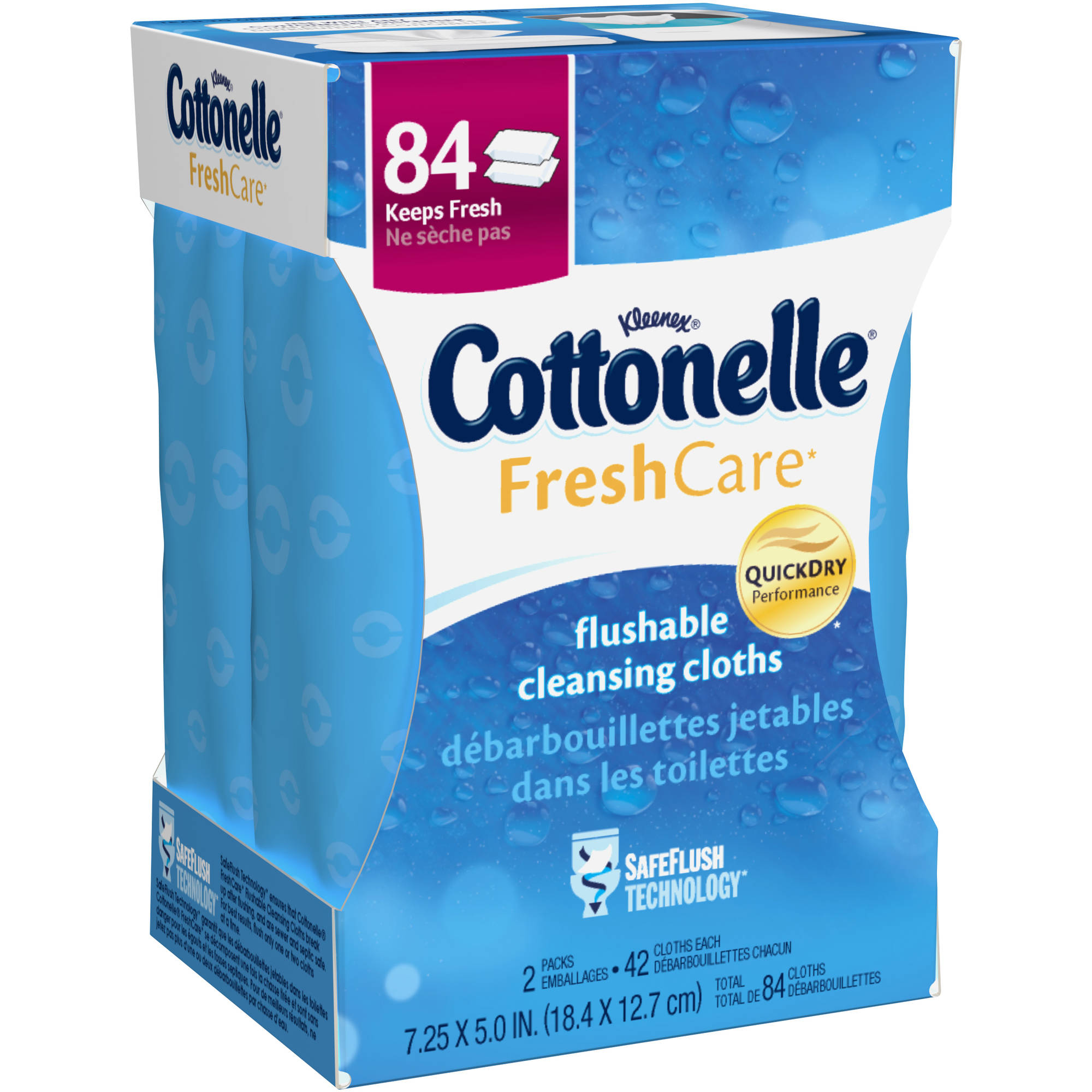 Cottonelle Fresh Care, Flushable Cleansing Cloths Refills, 84 Sheets (Pack of 2)