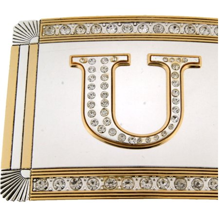New Initial U Letter Alphabet Belt Buckle Western Cowboy Rodeo Gold Silver Shiny