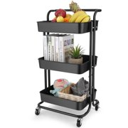 3 Tiers Rolling Utility Cart Storage, Mobile Basket Organizer Trolley Kitchen Cart Wheeled Shelving Tool, Classroom Storage Cart for Holding Books Magazines Snacks Foods