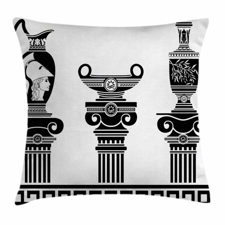 Toga Party Throw Pillow Cushion Cover, Set of Hellenic Vases and Ionic Columns Artistic Design Amphora Antiquity, Decorative Square Accent Pillow Case, 18 X 18 Inches, Black and White, by