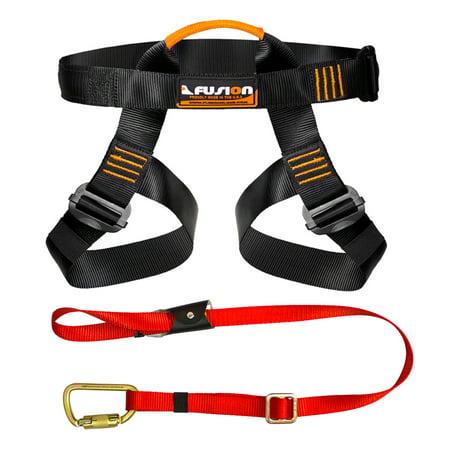 Fusion Climb Pro Backyard Zip Line Kit Harness Lanyard Bundle (Abc Climbing Harness)
