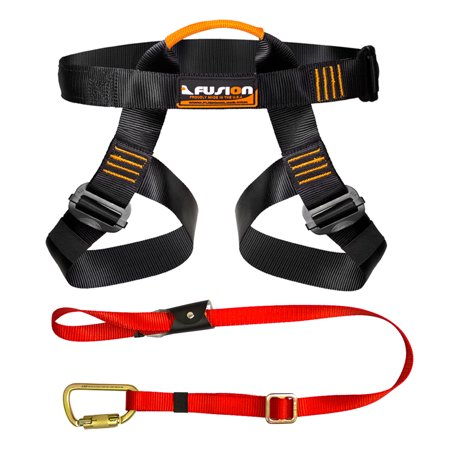 Black Diamond Climbing Harness (Fusion Climb Pro Backyard Zip Line Kit Harness Lanyard Bundle)