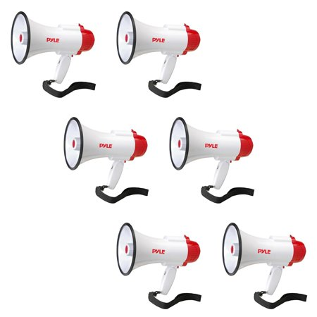 Pyle Pro Handheld Megaphone Bull Horn with Siren and Voice Recorder (6 Pack) ()