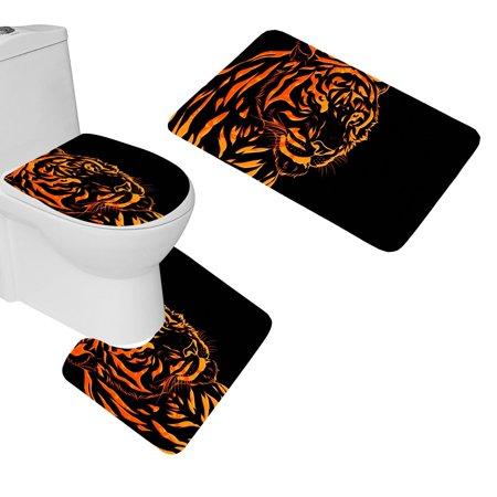 Chaplle Tiger Line Graph 3 Piece Bathroom Rugs Set Bath
