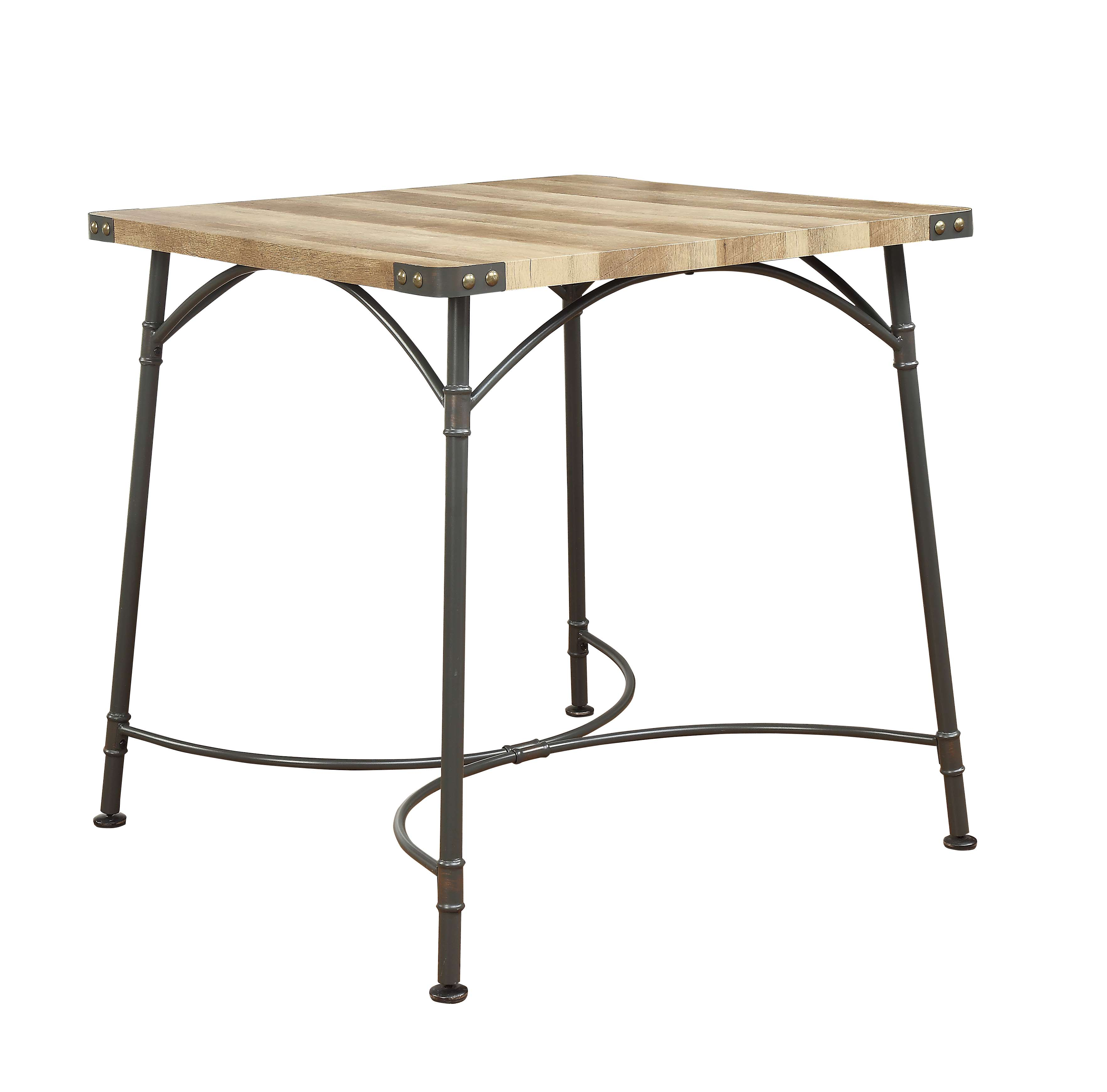 ACME Itzel Counter Height Table in Sandy Gray and Antique Oak