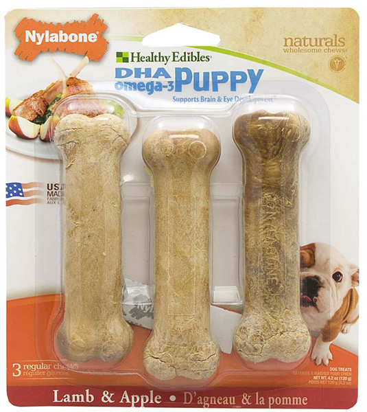Nylabone Healthy Edible Puppy Lamb and Apple Regular Pet Chew Toy, 3 Count Multi-Colored