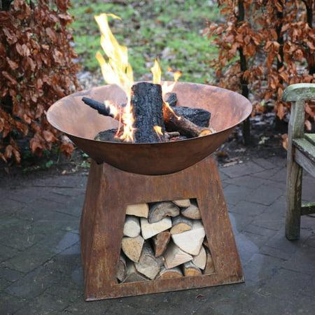 Esschert Design Wood Burning Fire Bowl Wood Storage