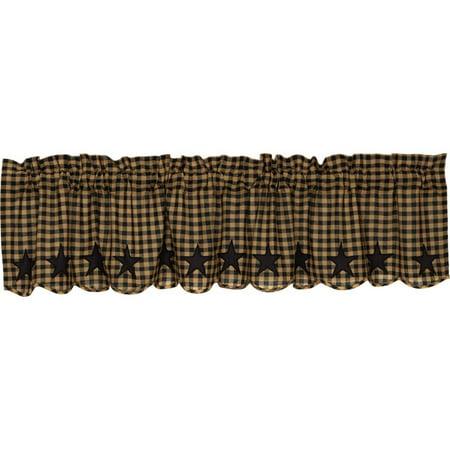 Raven Black Primitive Kitchen Curtains Black Star Rod Pocket Cotton Appliqued Star 16x72 Valance (Halloween Primitive Decor)