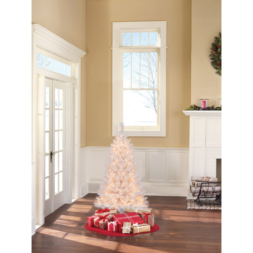 Holiday Time Pre-Lit 4' Indiana Spruce Artificial Tree, White, Clear Lights