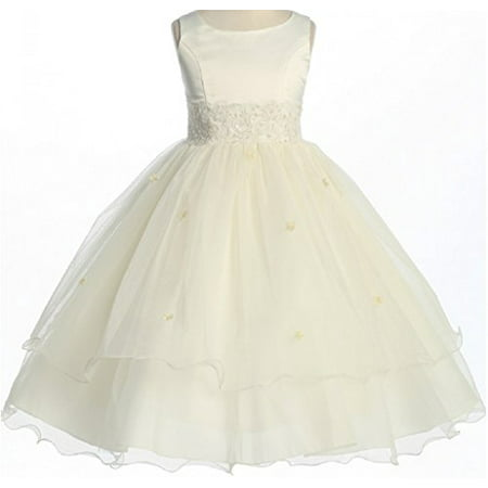 Big Girls' Satin Lace Beadwork Wedding Holy First Communion Special Occasion Flower Girl Dress Ivory 10 (K19D8) (Lace Flower Girl Dresses Vintage)