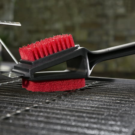 Expert Grill Grill Brush, Soft Grip 3-in-1 Barbecue Cleaning Brush