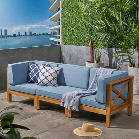 Groovy Elisha Outdoor Modular 3 Piece Acacia Wood Sectional Sofa Set With Cushions Teak Blue Short Links Chair Design For Home Short Linksinfo