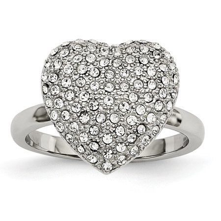 - Roy Rose Jewelry CHISEL Ring Collection Stainless Steel Polished w/ Preciosa Crystal Heart Ring Size 6