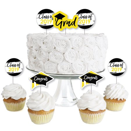 Yellow Grad - Best is Yet to Come - Dessert Cupcake Toppers - Yellow 2019 Graduation Party Clear Treat Picks - Set of (Best Pillow Topper 2019)