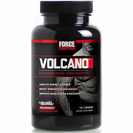 FORCE FACTOR VOLCANO Pre Workout - L'Oxyde Nitrique Booster 120 Ct
