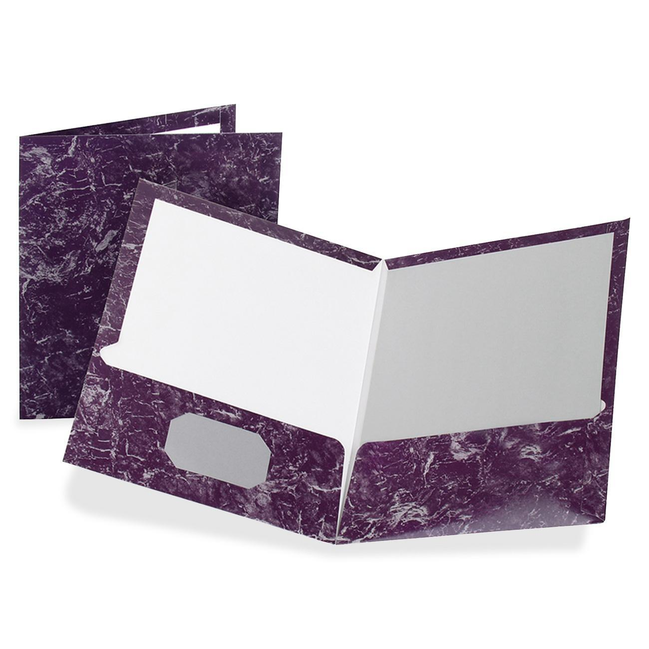 Oxford, OXF51626, Marble Laminated Twin Pocket Folders, 25 / Box, Deep Purple