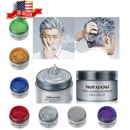 Temporary White Hair Color Spray (Unisex DIY Hair Color Wax Mud Dye Cream Temporary Modeling 8 Colors Mofajang)