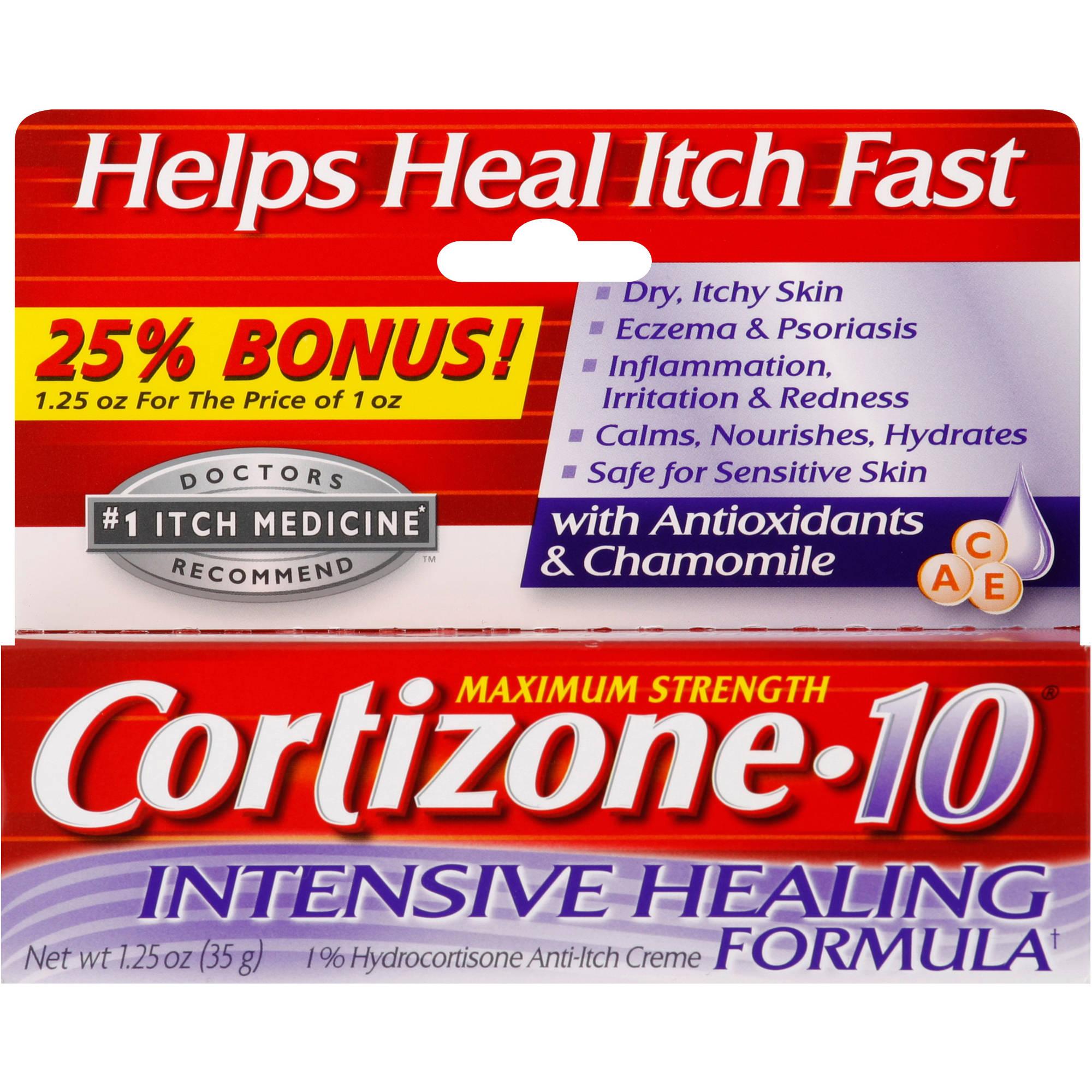 Cortizone-10 Maximum Strength Intensive Healing Formula 1% Hydrocortisone Anti-Itch Creme with Antioxidants & Chamomile, 1.25 oz