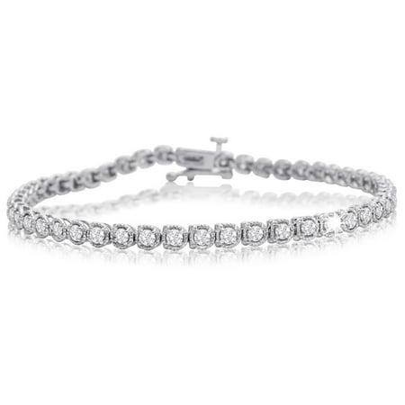 2 Carat Halo Diamond Tennis Bracelet In White Gold, 7