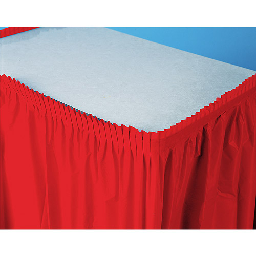 Plastic Table Skirt, Red