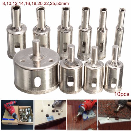 10-Pack Diamond Tool Drill Bit Hole Saw Set Hole Saw Cutter For Tile Ceramic Glass Marble ,8-50mm
