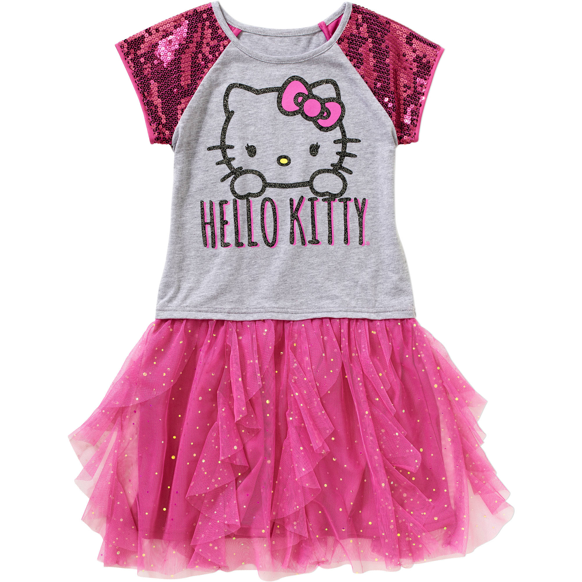 Hello Kitty Girls' Sequin Raglan Tutu Dress