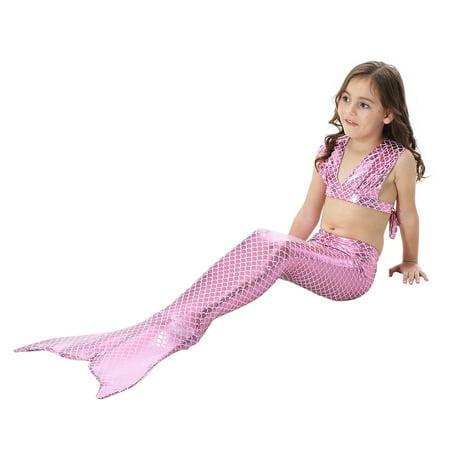 3PCS Girls' Swimsuit Mermaid Tail For Swimming Princess Tropical Bikini Gift Masquerade Pool Party