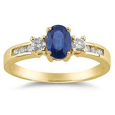 Sapphire and Diamond Regal Channel Ring in 14K Yellow Gold ()