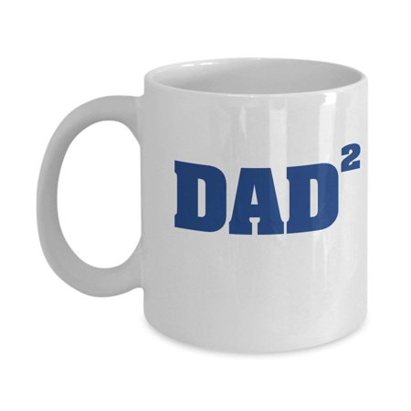 Dad Squared Coffee & Tea Gift Mug, Best Fathers Day Gifts from Daughter or Son, Ideas & Party Supplies for