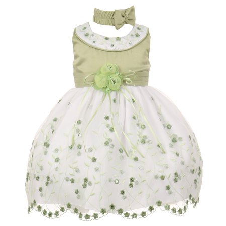 Baby Girls Sage White Floral Jeweled Flower Girl Bubble Dress 6M (Jeweled Party Dress)