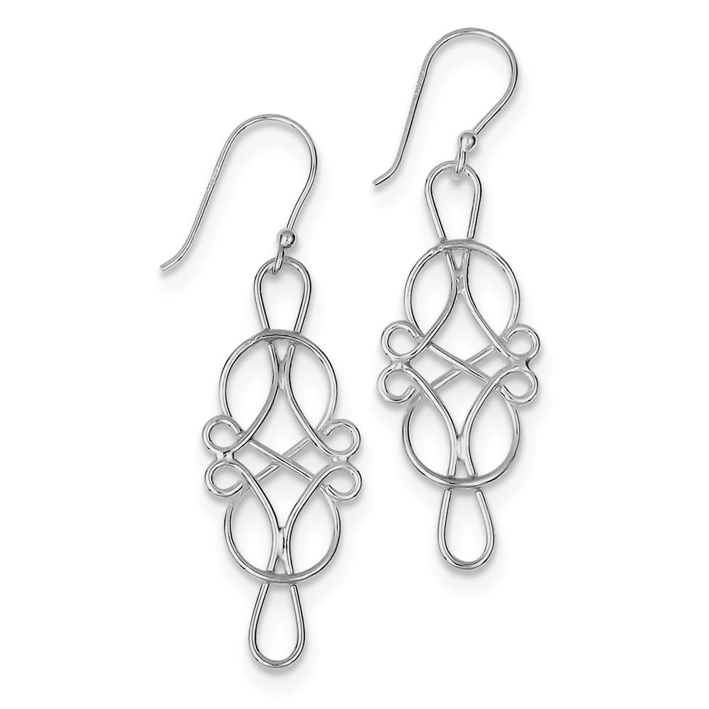 Sterling Silver Fancy Design Dangle Earrings. (1.7IN x 0.5IN )