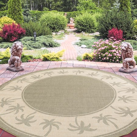 Round Area Rug 8 Foot Stain Resistant Indoor Outdoor