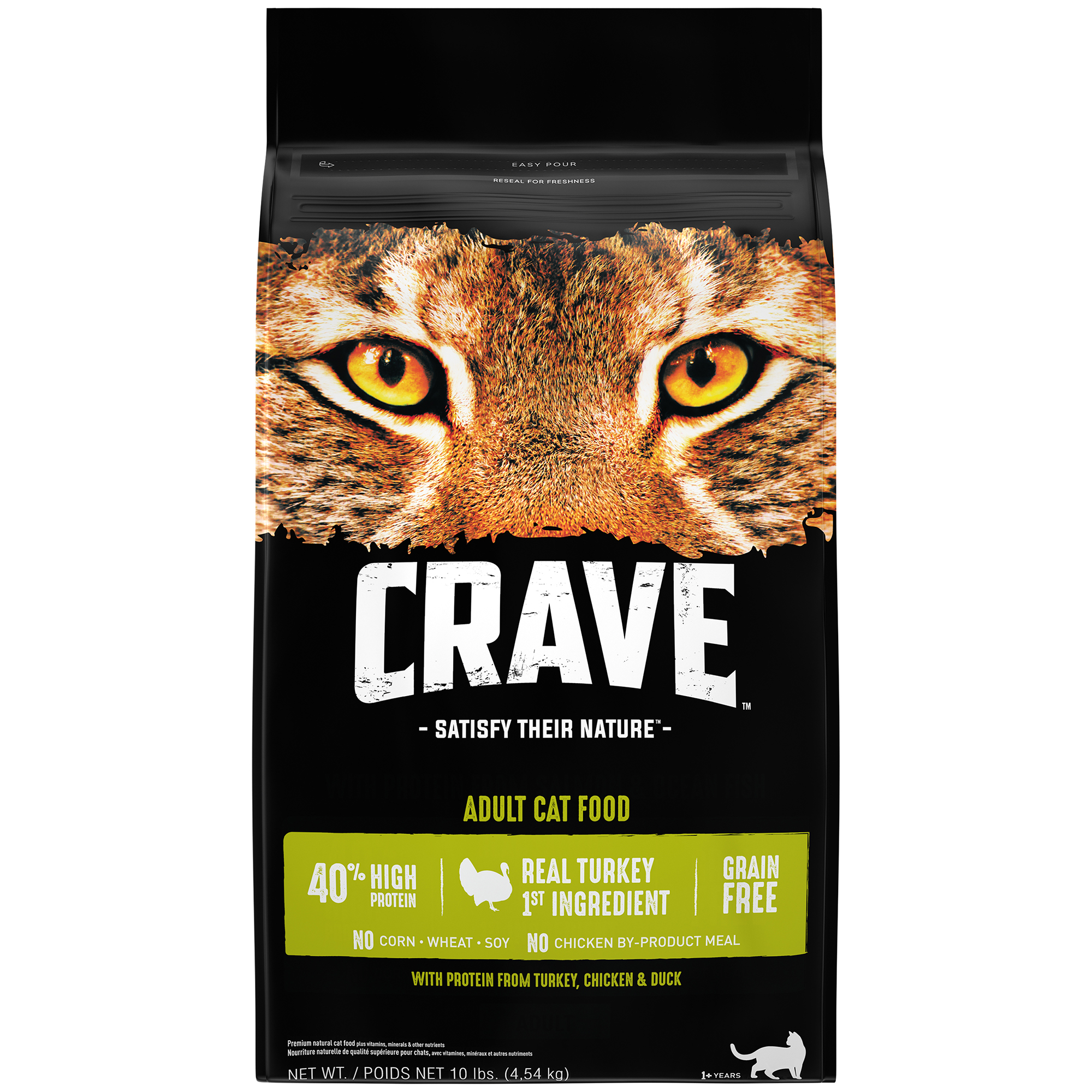 Crave Grain-Free with Protein from Turkey, Chicken, & Duck Adult Dry Cat Food, 10 lb