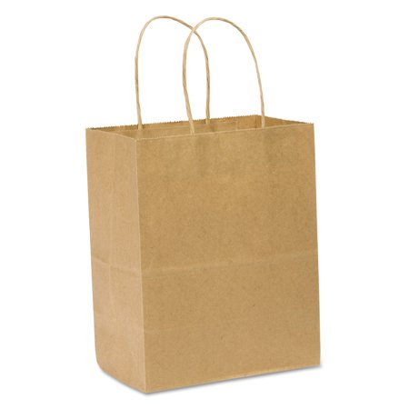 General Paper Shopping Bag, 60lb Kraft, Heavy-Duty 8 x 4 1/2 x 10 1/4, 250 bags - Brown Paper Bags With Handles