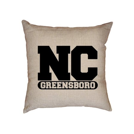 Nc State Pillow - Greenboro, North Carolina NC Classic City State Sign Decorative Linen Throw Cushion Pillow Case with Insert