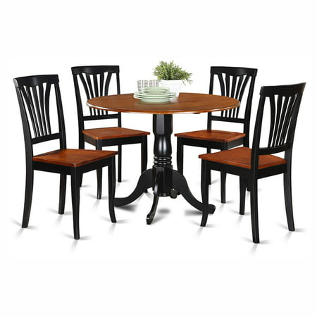 East West Furniture Dublin 5 Piece Drop Leaf Dining Table Set with Avon Wooden Seat Chairs ()