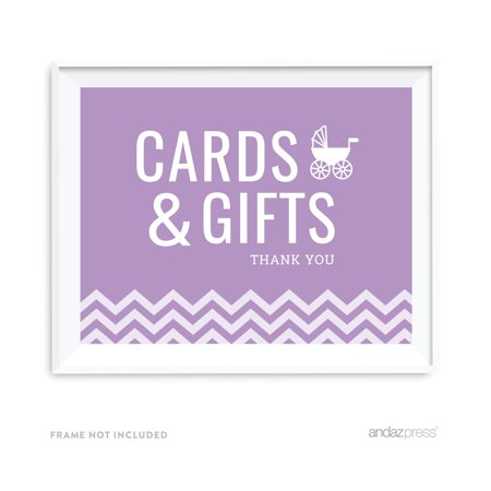 Cards & Gifts Lavender Chevron Print Baby Shower Party Signs