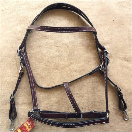 Combination Leather Halter - HILASON WESTERN LEATHER HORSE TRAIL HALTER BRIDLE COMBINATION BROWN