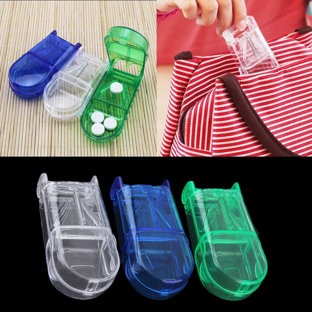 Portable Travel Medicine Pill Compartment Box Case Storage with Cutter Blade