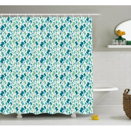 Seahorse Shower Curtain Silhouette Sea Horse Figures Pattern On White Background Fabric Bathroom Set