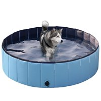 Topeakmart Foldable Pet Swimming Pool/Pond Dogs/Cats/Kids Bath Tub PVC Water Pond for Garden/Beach/Yard/Home Use, Blue, L